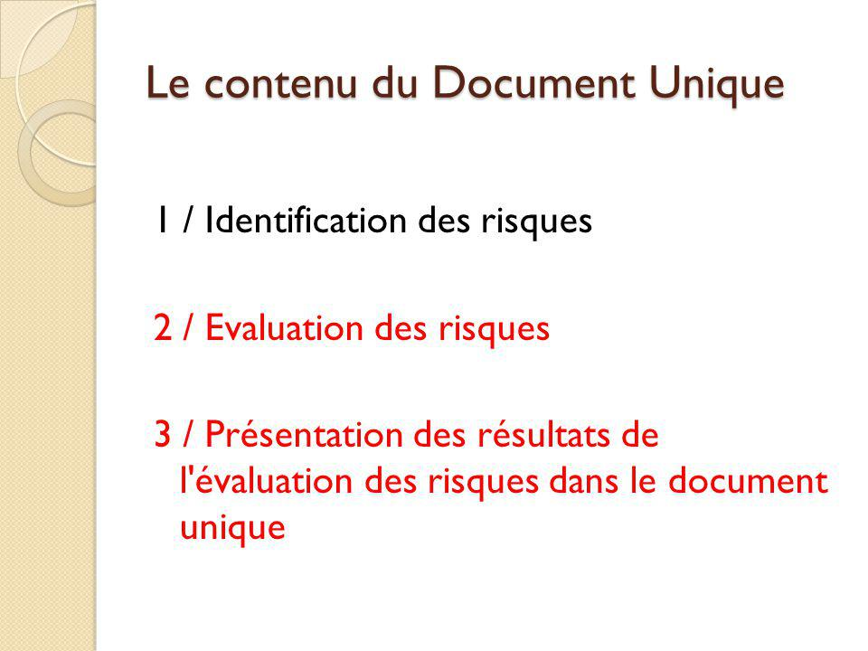 Le contenu du Document Unique