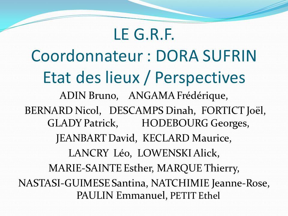 LE G.R.F. Coordonnateur : DORA SUFRIN Etat des lieux / Perspectives