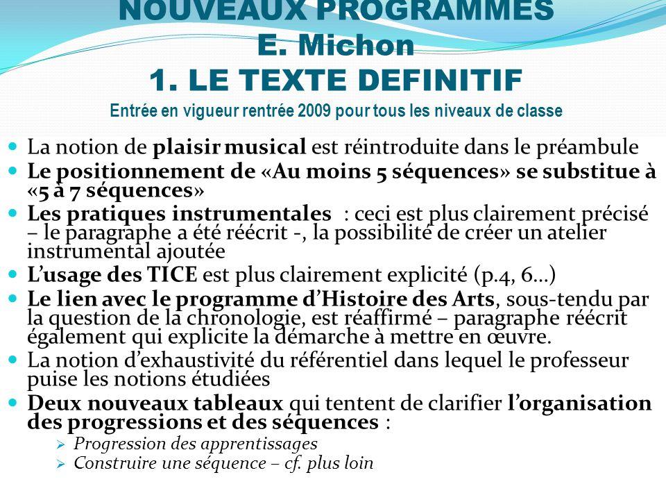 NOUVEAUX PROGRAMMES E. Michon 1