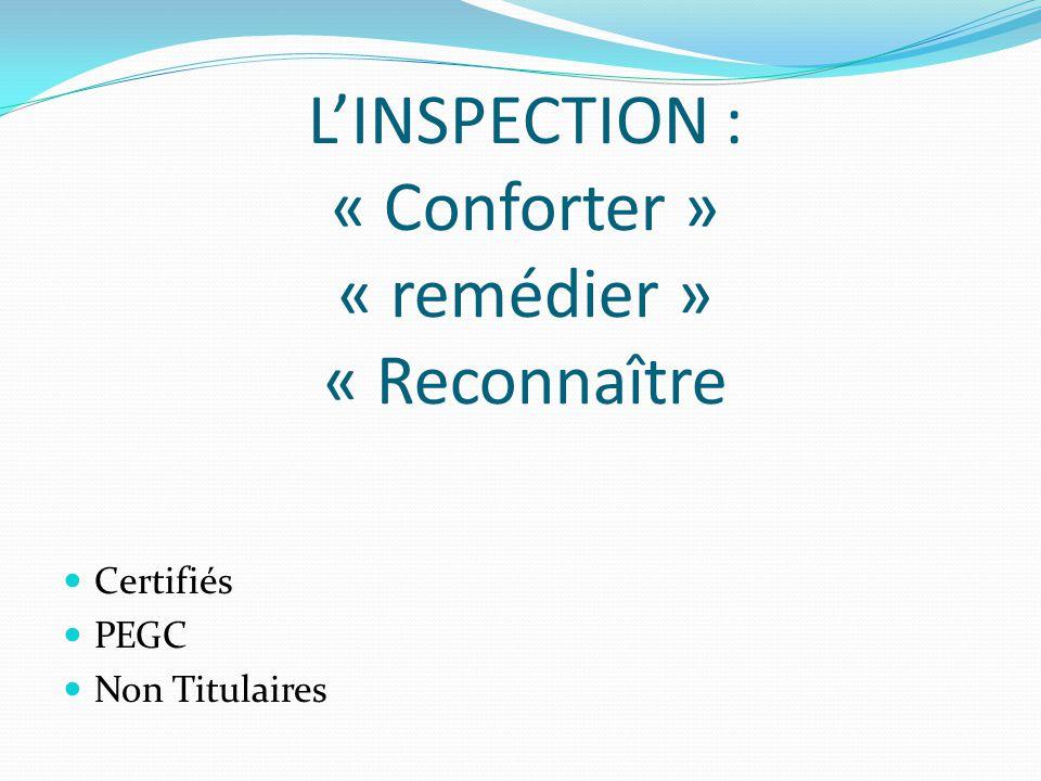 L'INSPECTION : « Conforter » « remédier » « Reconnaître