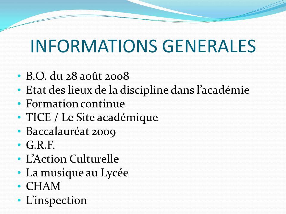 INFORMATIONS GENERALES