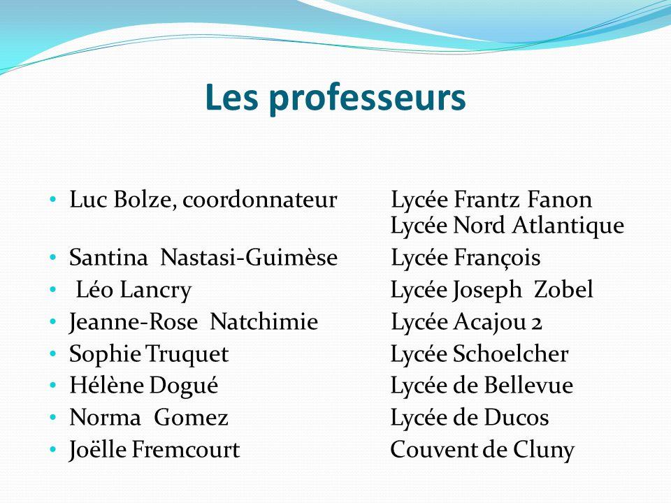 Les professeurs Luc Bolze, coordonnateur Lycée Frantz Fanon Lycée Nord Atlantique. Santina Nastasi-Guimèse Lycée François.