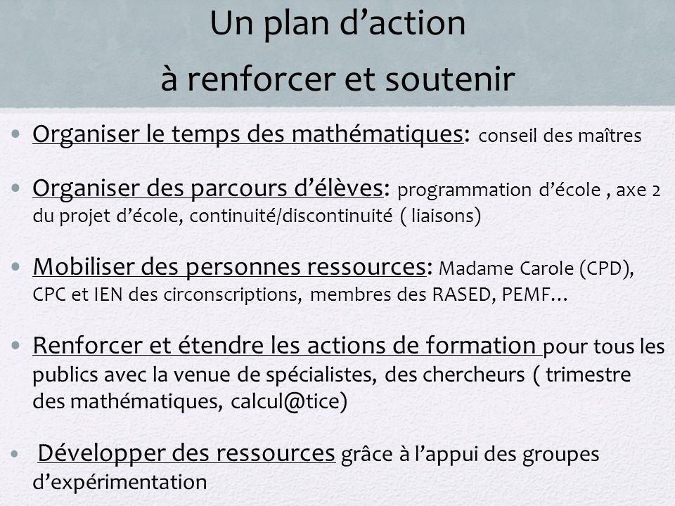 Un plan d'action à renforcer et soutenir