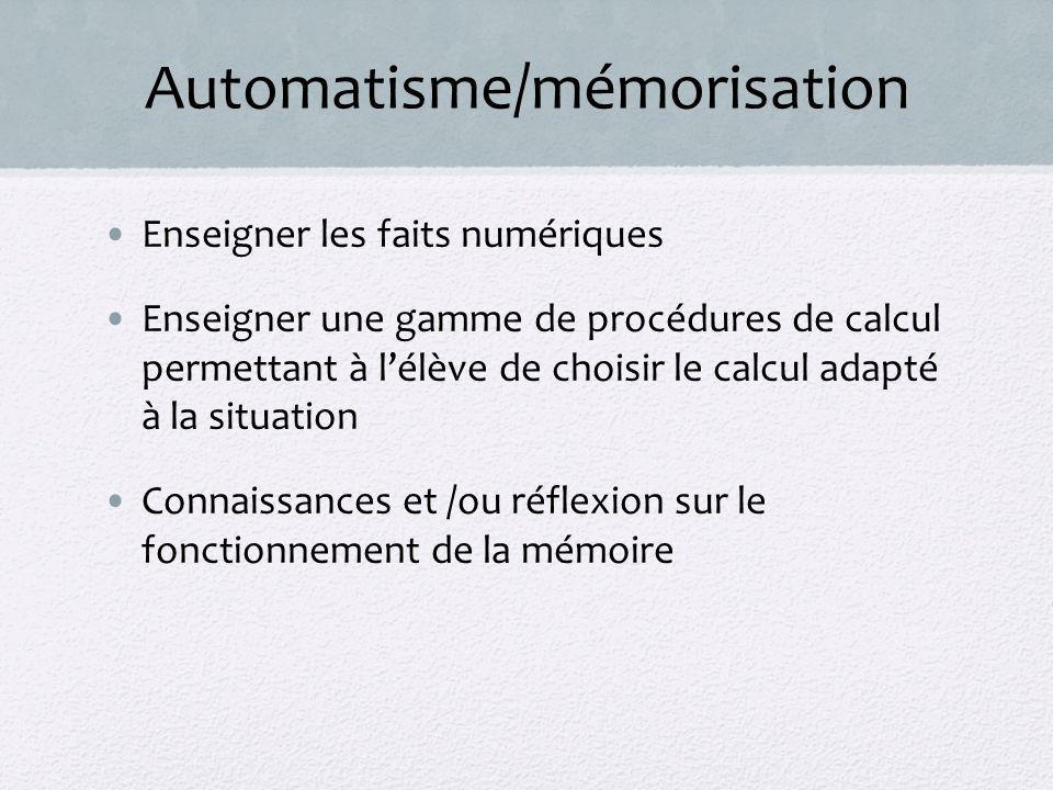 Automatisme/mémorisation