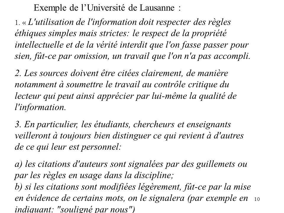 Exemple de l'Université de Lausanne :
