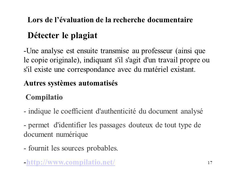 Détecter le plagiat Lors de l'évaluation de la recherche documentaire