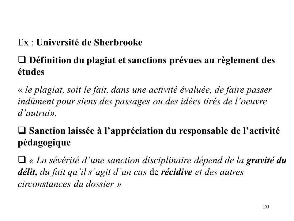 Ex : Université de Sherbrooke
