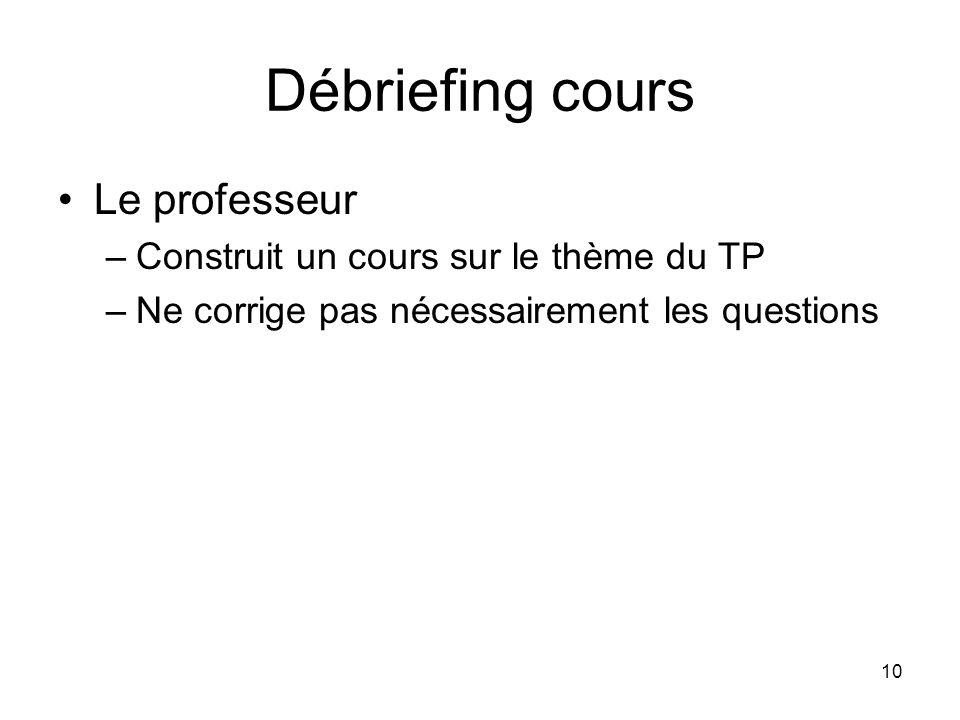 Débriefing cours Le professeur Construit un cours sur le thème du TP