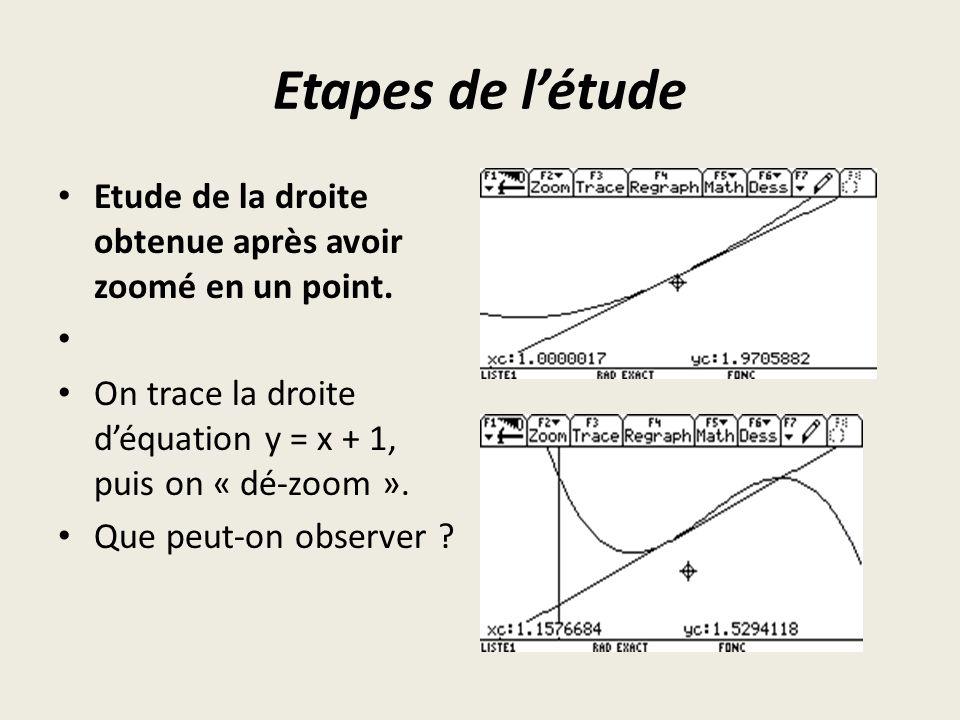 Etapes de l'étude Etude de la droite obtenue après avoir zoomé en un point. On trace la droite d'équation y = x + 1, puis on « dé-zoom ».