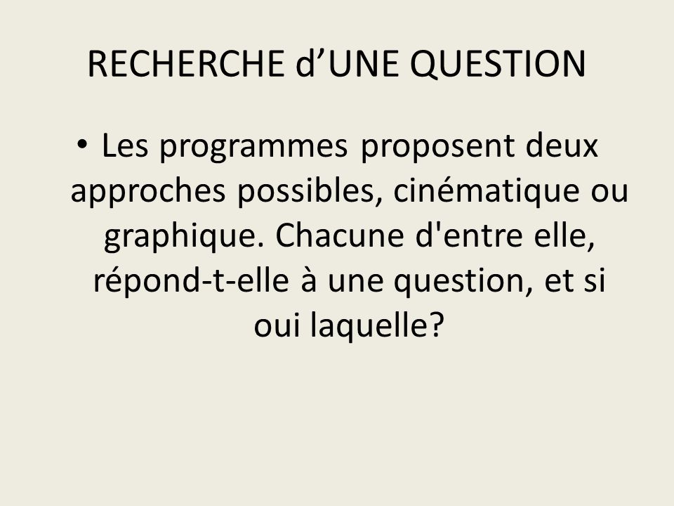 RECHERCHE d'UNE QUESTION