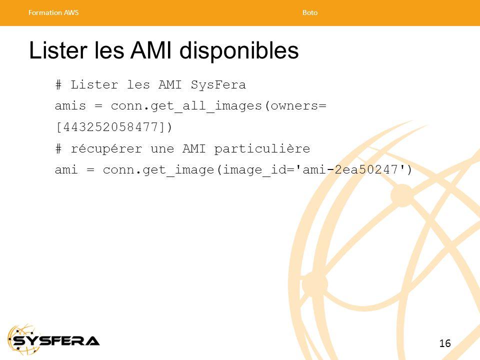 Lister les AMI disponibles
