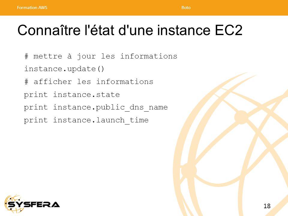 Connaître l état d une instance EC2