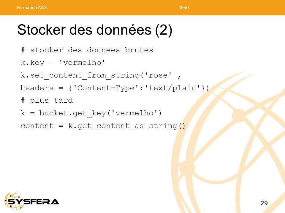 Stocker des données (2) # stocker des données brutes