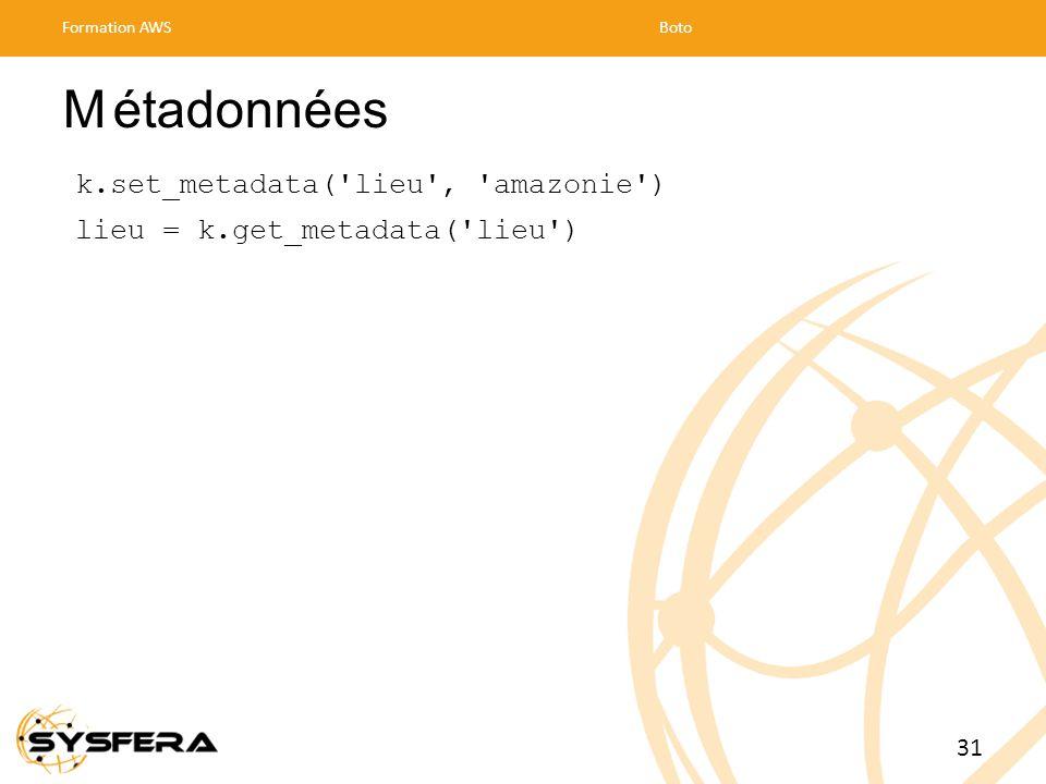 M étadonnées k.set_metadata( lieu , amazonie )