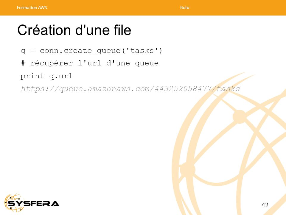 Création d une file q = conn.create_queue( tasks )