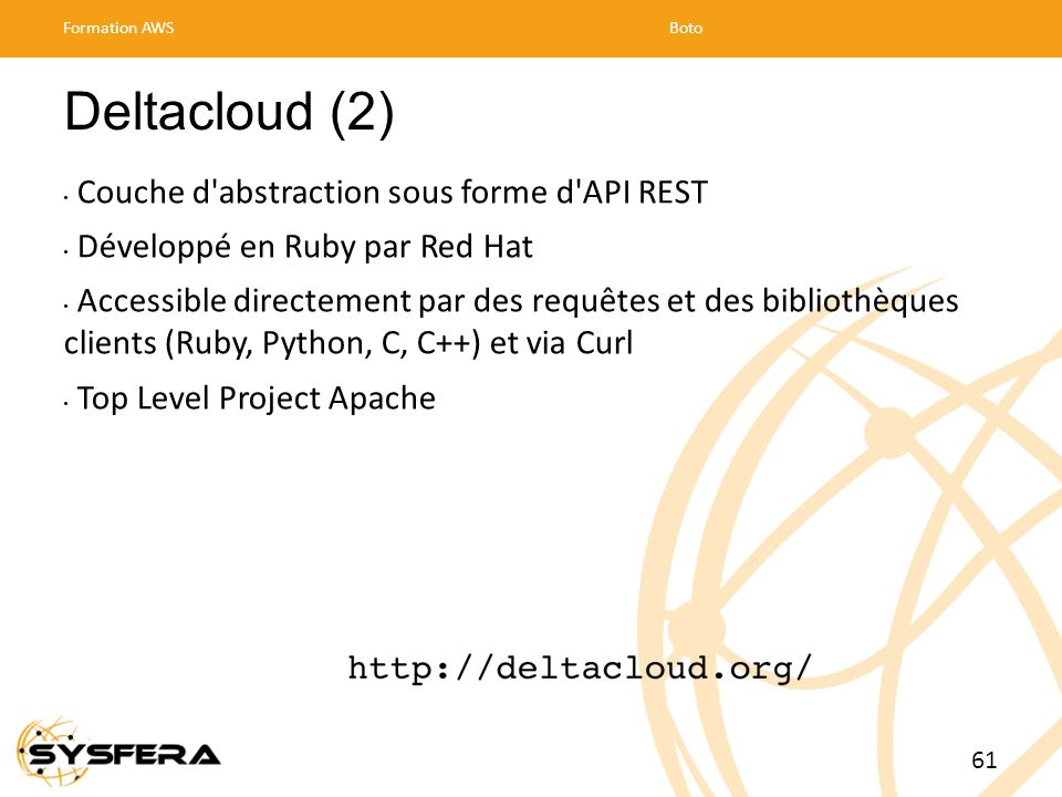 Deltacloud (2) Couche d abstraction sous forme d API REST