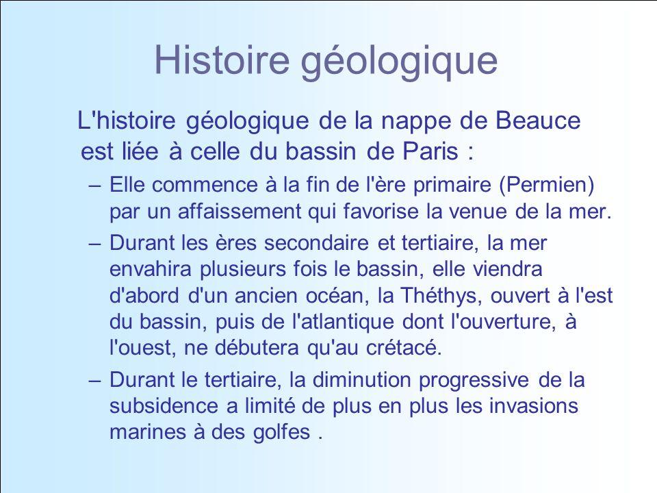 Histoire géologique L histoire géologique de la nappe de Beauce est liée à celle du bassin de Paris :