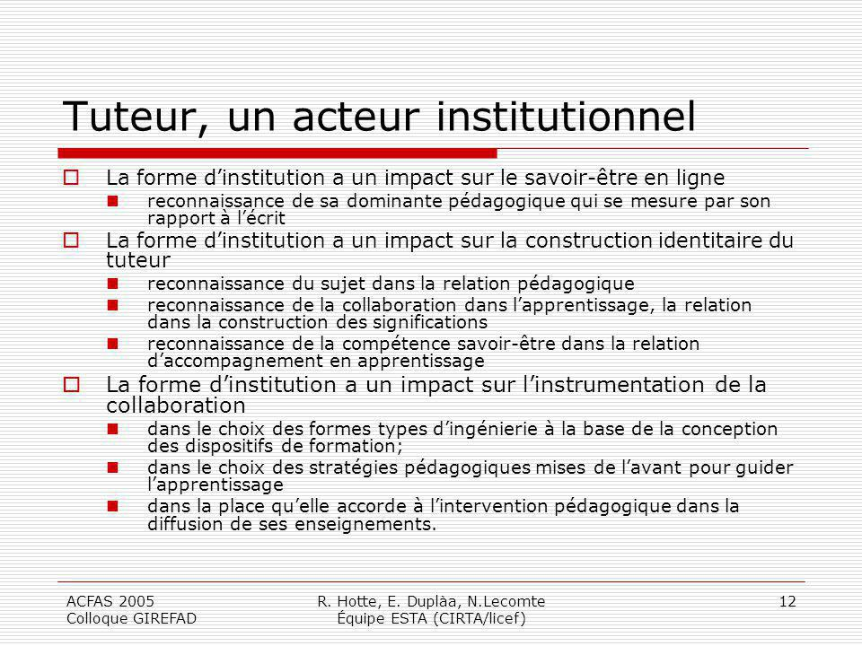 Tuteur, un acteur institutionnel