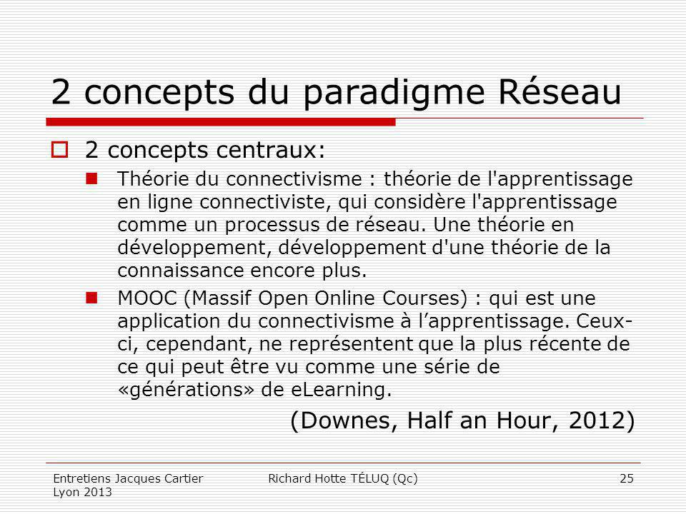 2 concepts du paradigme Réseau