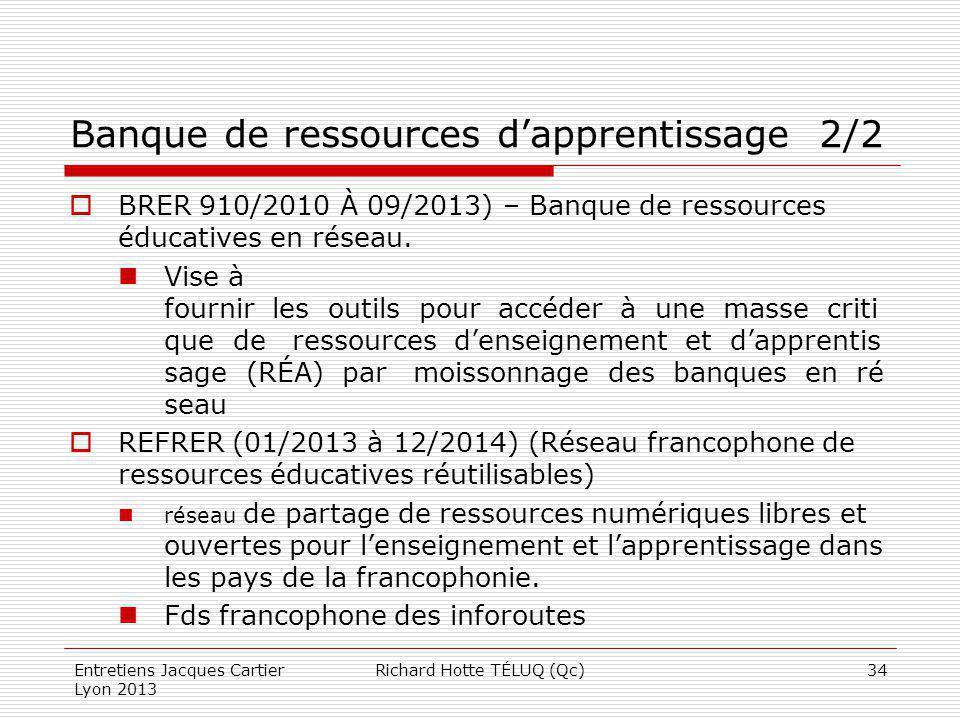 Banque de ressources d'apprentissage 2/2