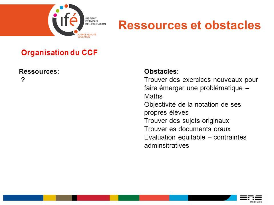 Ressources et obstacles