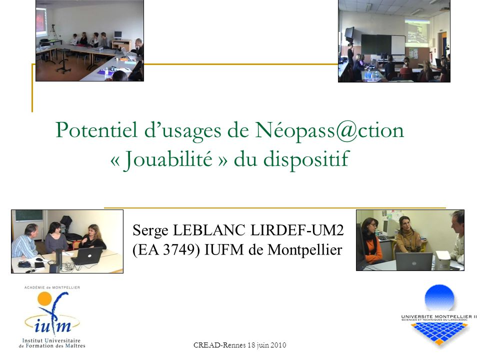 Potentiel d'usages de Néopass@ction « Jouabilité » du dispositif