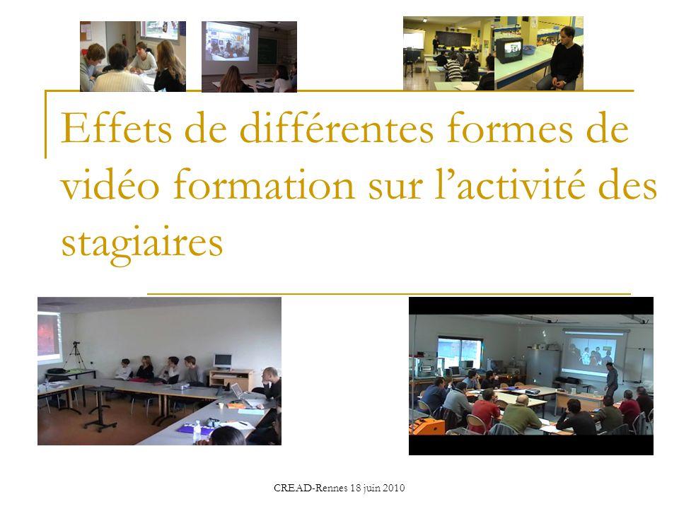 Effets de différentes formes de vidéo formation sur l'activité des stagiaires