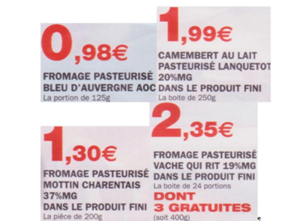 Classer les fromages du plus cher au moins cher