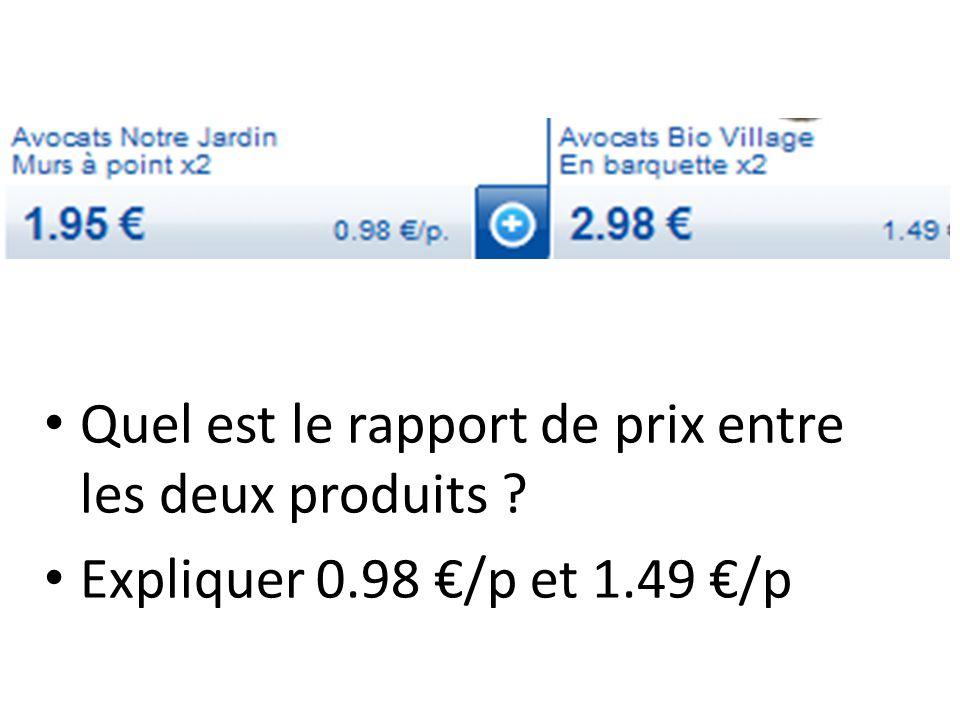 Quel est le rapport de prix entre les deux produits