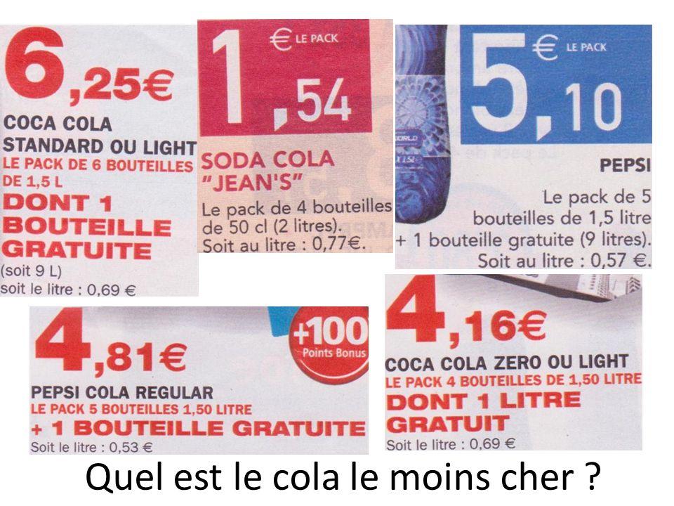 Quel est le cola le moins cher