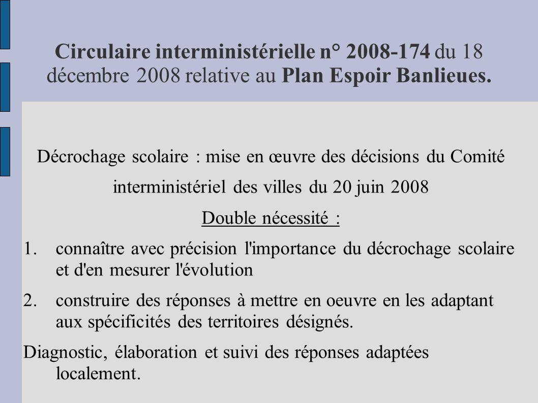 Circulaire interministérielle n° 2008-174 du 18 décembre 2008 relative au Plan Espoir Banlieues.
