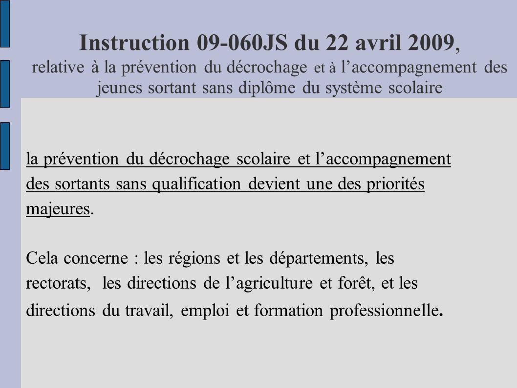 Instruction 09-060JS du 22 avril 2009, relative à la prévention du décrochage et à l'accompagnement des jeunes sortant sans diplôme du système scolaire