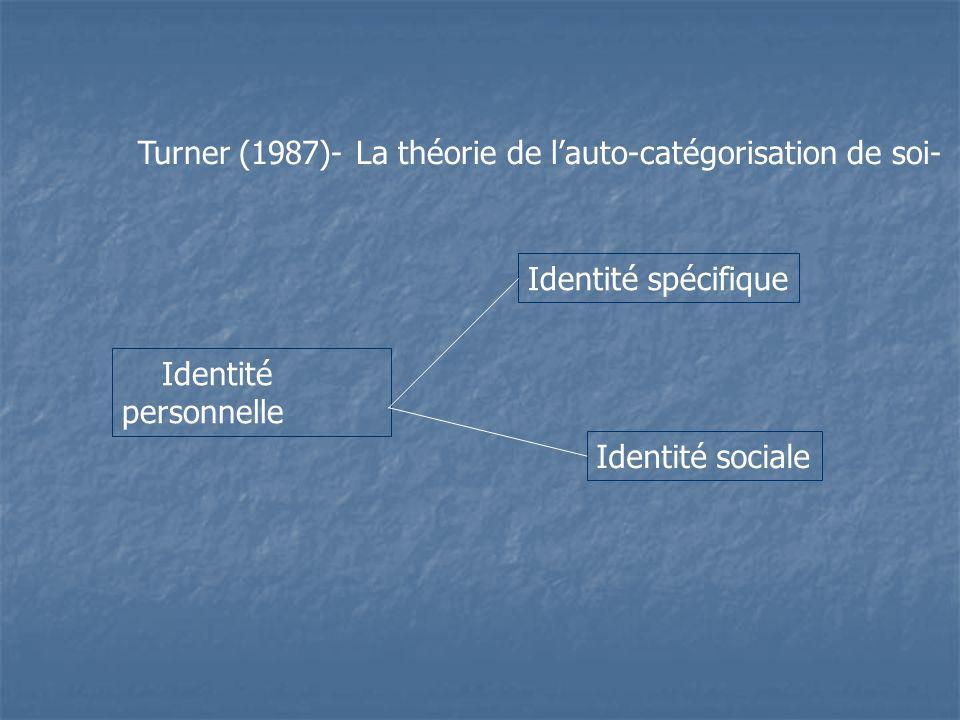 Turner (1987)- La théorie de l'auto-catégorisation de soi-
