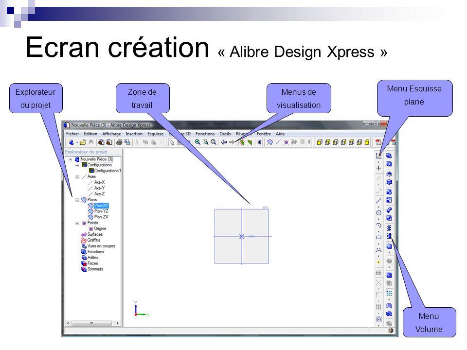 Ecran création « Alibre Design Xpress »