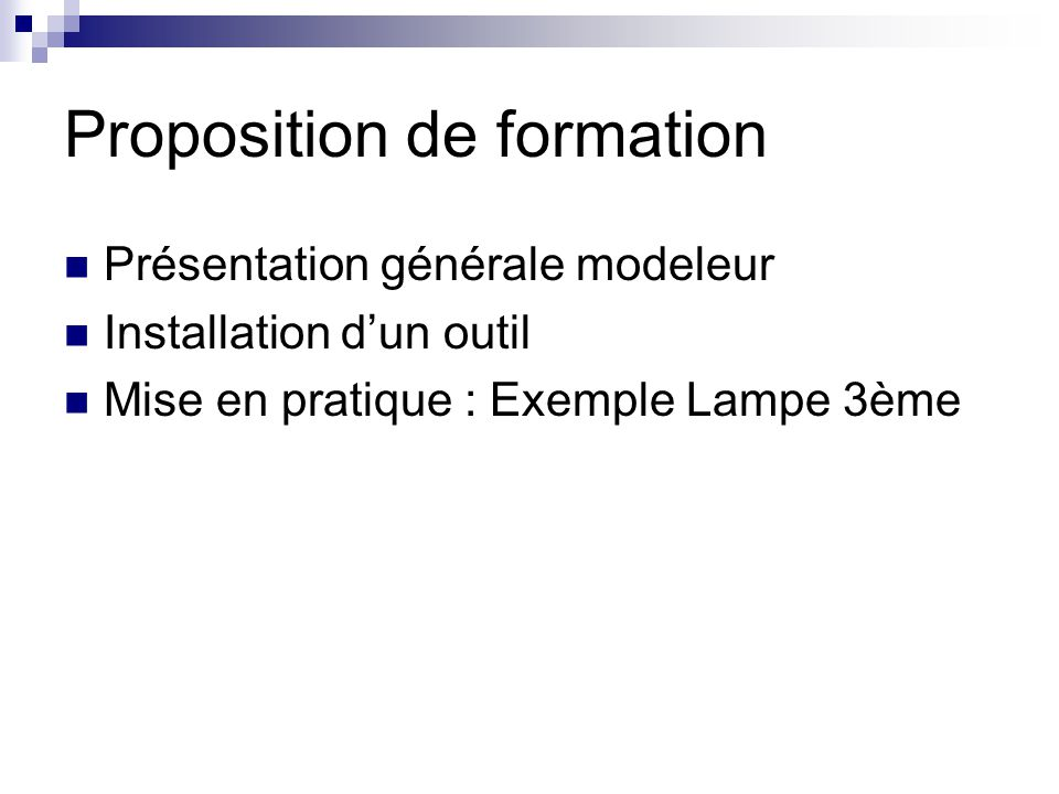 Proposition de formation