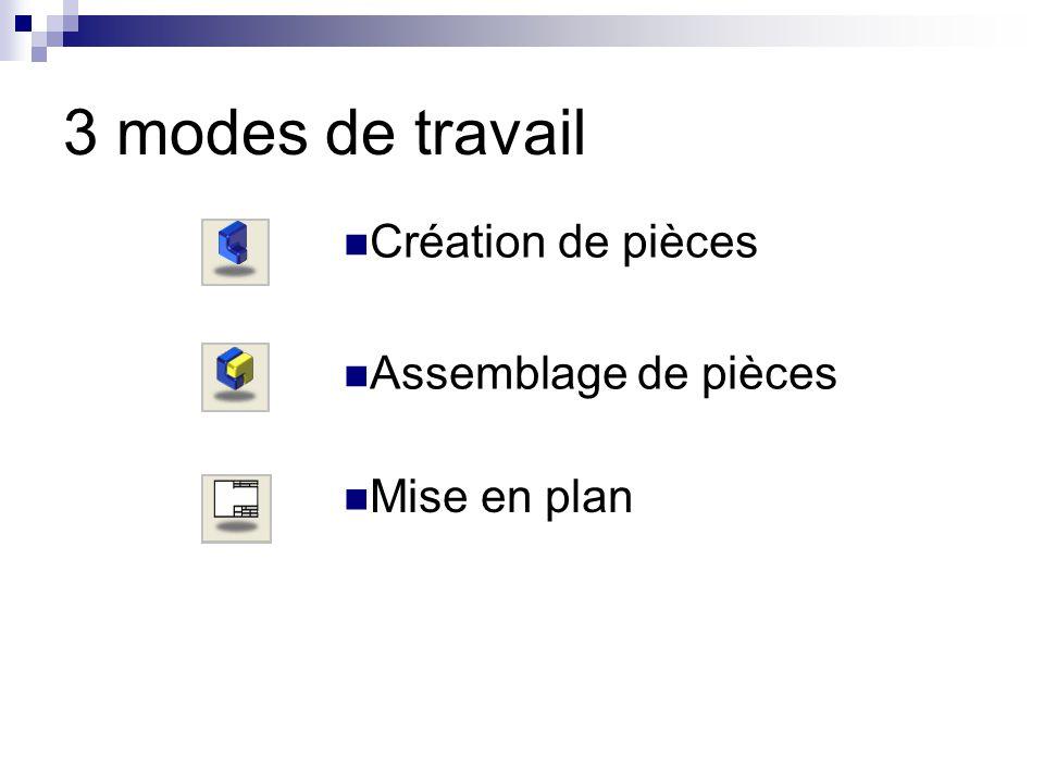 3 modes de travail Création de pièces Assemblage de pièces