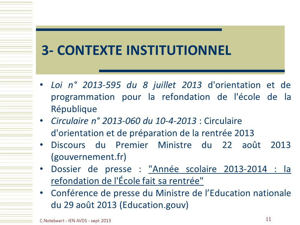 3- CONTEXTE INSTITUTIONNEL