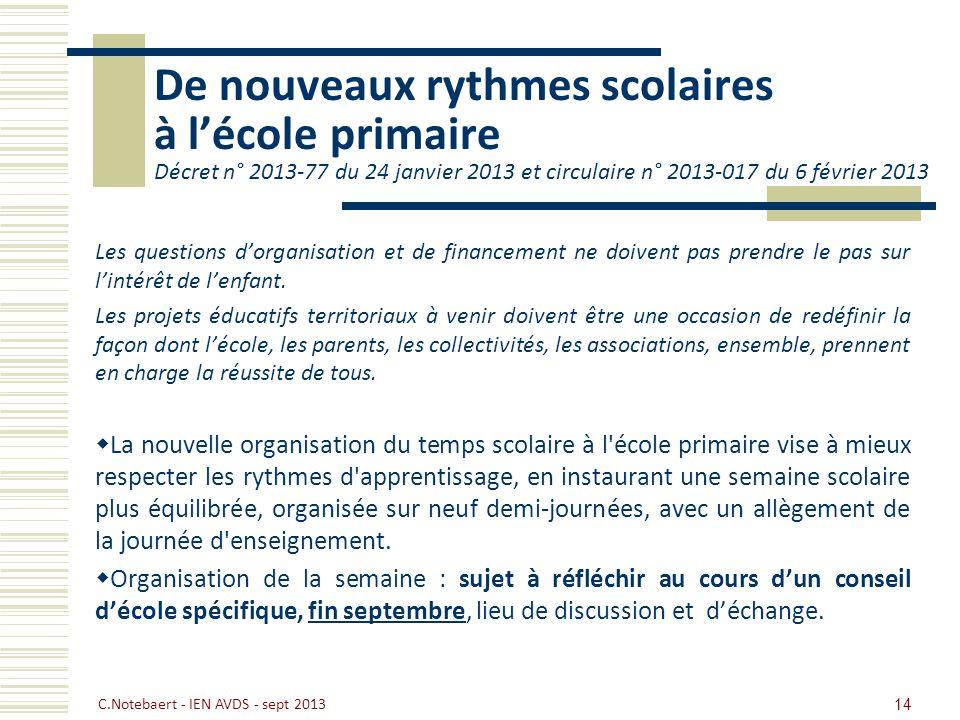 De nouveaux rythmes scolaires à l'école primaire Décret n° 2013-77 du 24 janvier 2013 et circulaire n° 2013-017 du 6 février 2013