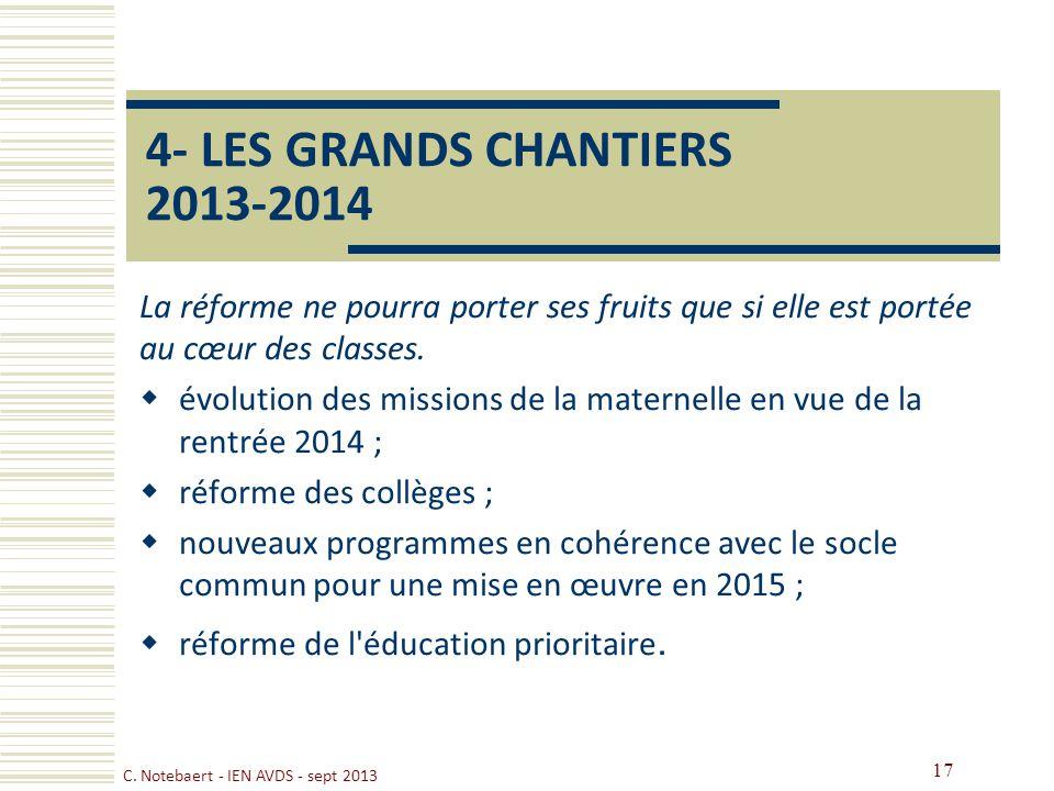 4- LES GRANDS CHANTIERS 2013-2014