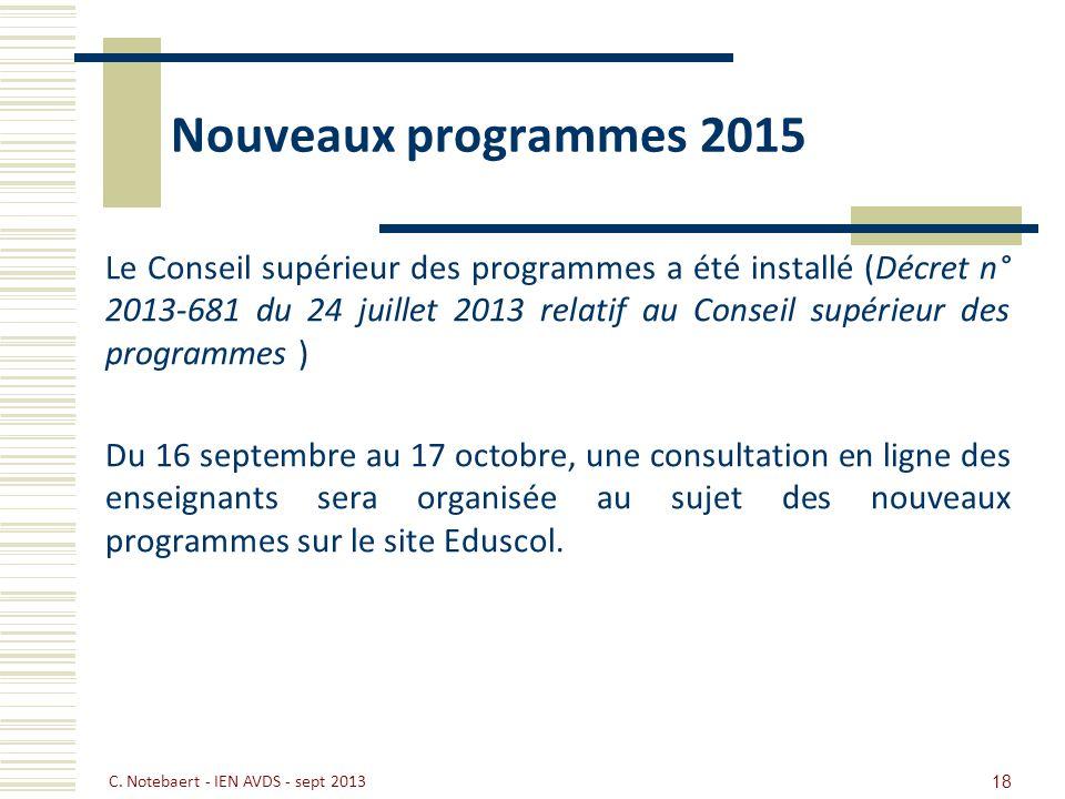 Nouveaux programmes 2015