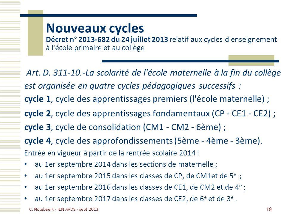 Nouveaux cycles Décret n° 2013-682 du 24 juillet 2013 relatif aux cycles d enseignement à l école primaire et au collège