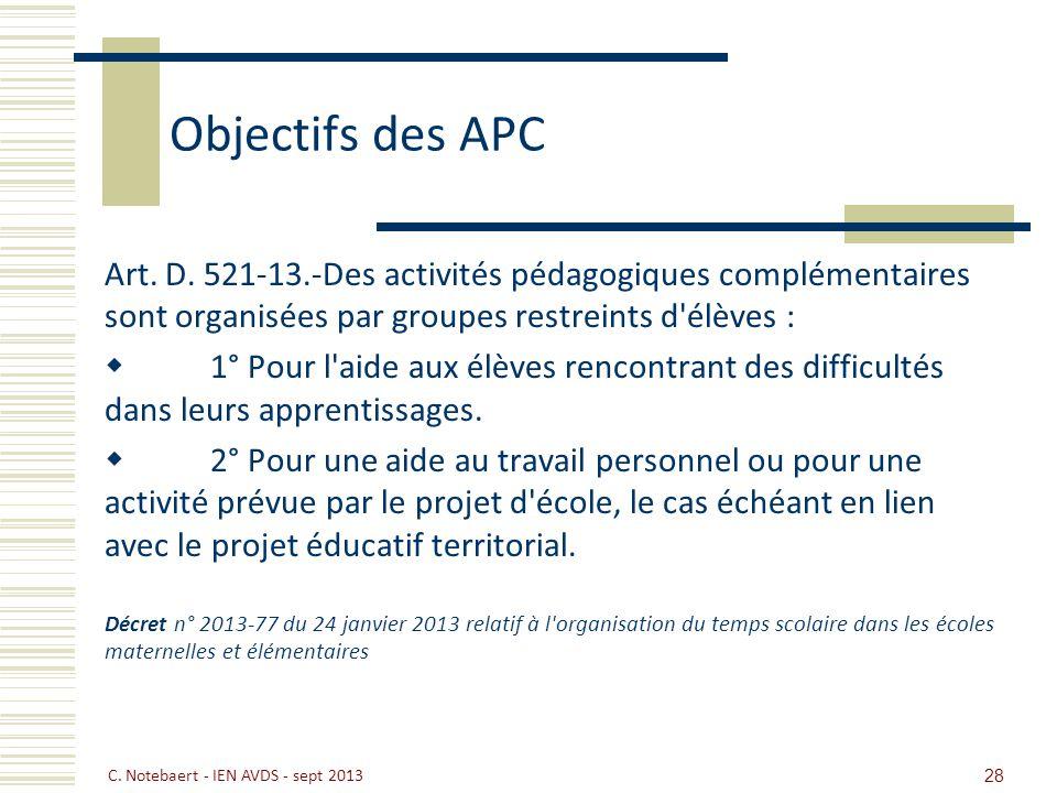 Objectifs des APC Art. D. 521-13.-Des activités pédagogiques complémentaires sont organisées par groupes restreints d élèves :