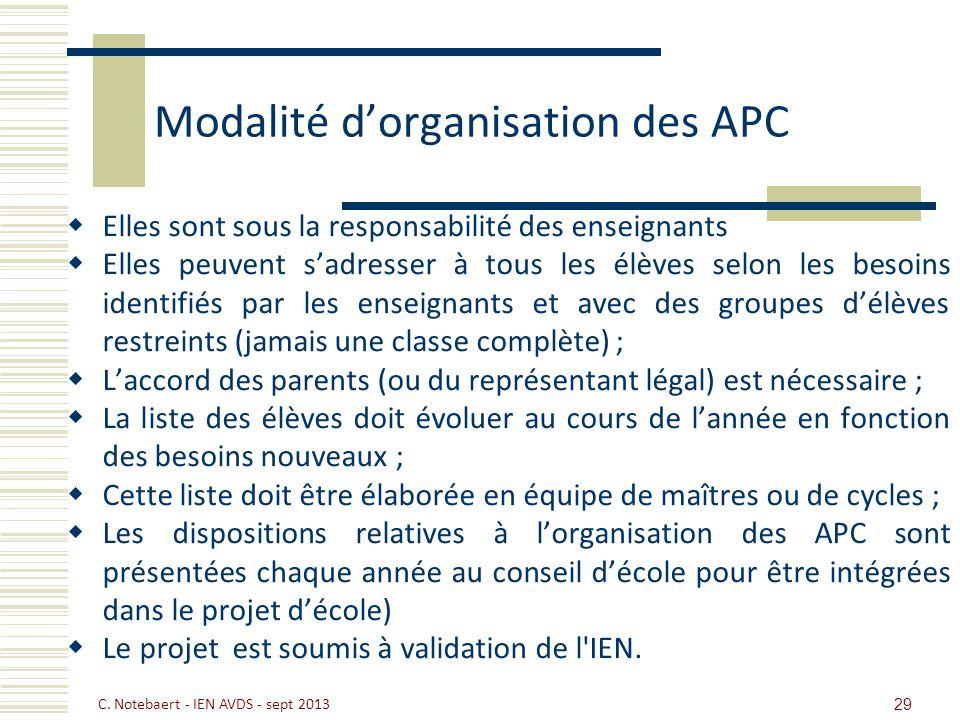 Modalité d'organisation des APC