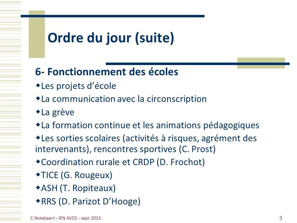 Ordre du jour (suite) 6- Fonctionnement des écoles Les projets d'école