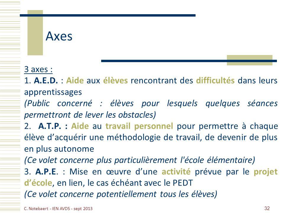 Axes 3 axes : 1. A.E.D. : Aide aux élèves rencontrant des difficultés dans leurs apprentissages.