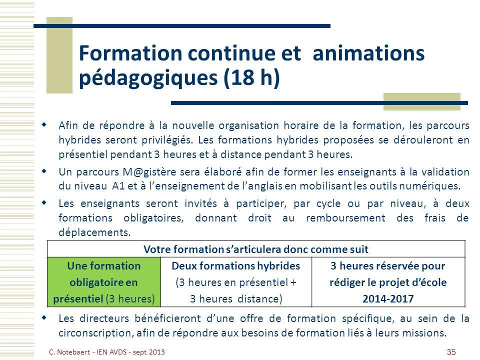 Formation continue et animations pédagogiques (18 h)