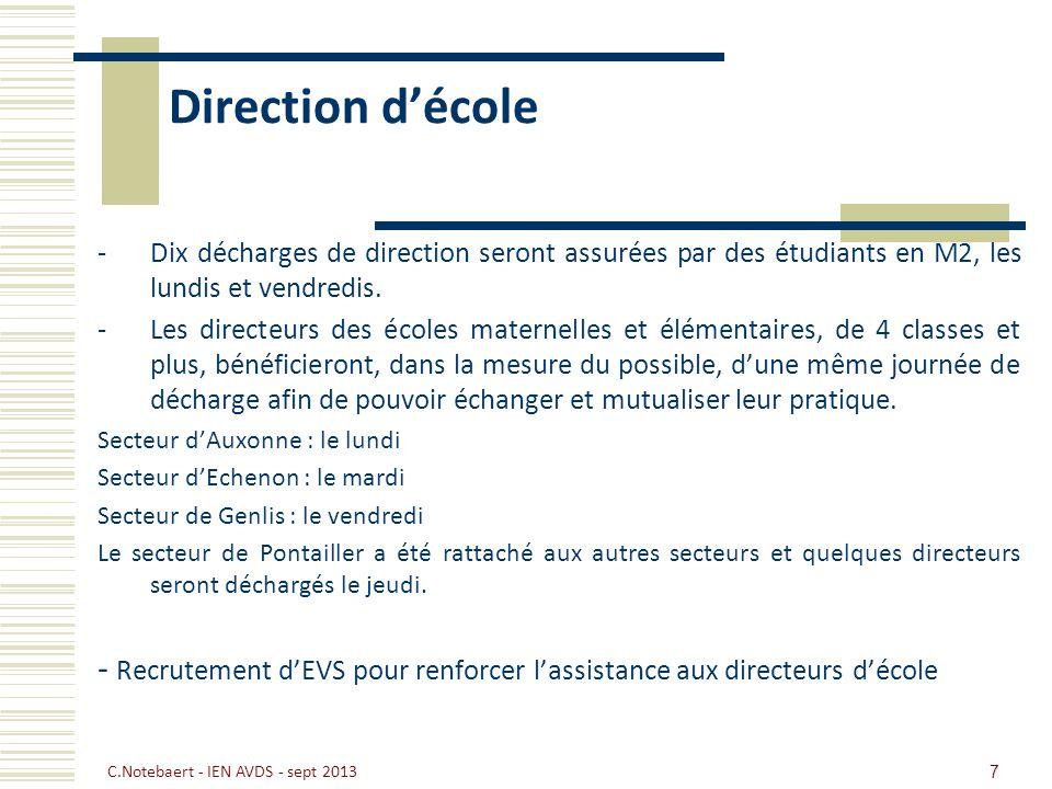 Direction d'école Dix décharges de direction seront assurées par des étudiants en M2, les lundis et vendredis.