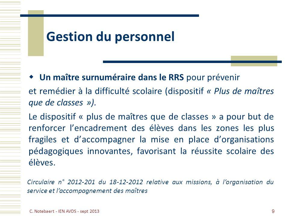Gestion du personnel Un maître surnuméraire dans le RRS pour prévenir