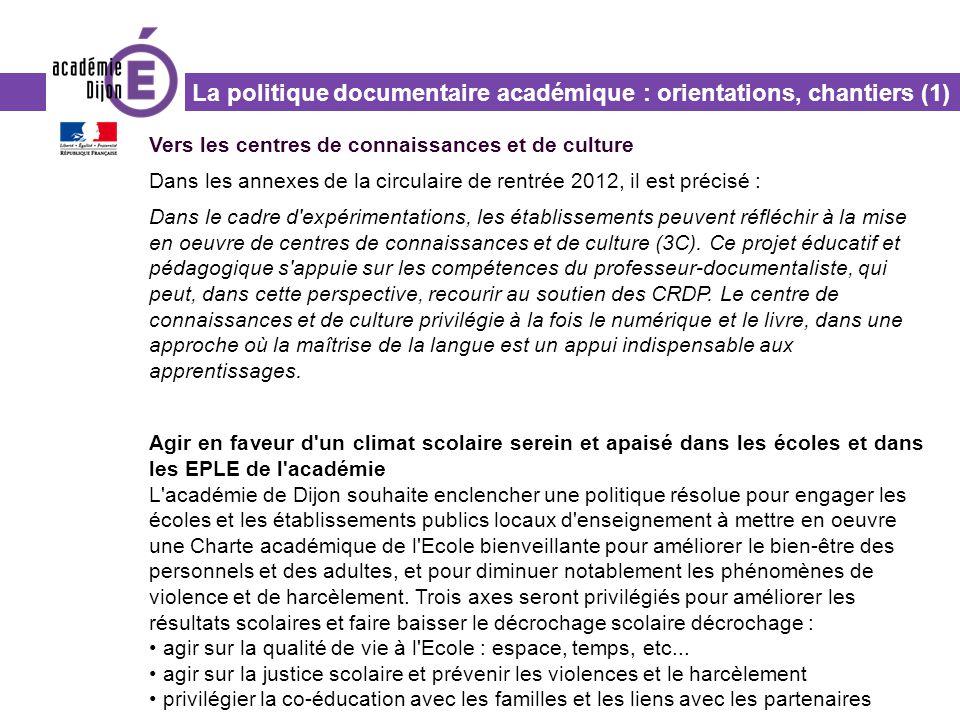 La politique documentaire académique : orientations, chantiers (1)