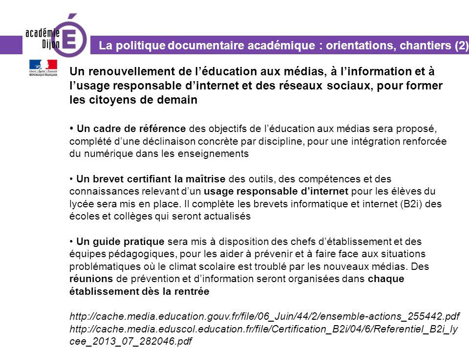 La politique documentaire académique : orientations, chantiers (2)